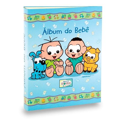 Álbum do Bebê Cebolinha e Cascão Azul - 60 Fotos 15x21 cm - 25x20,5 cm