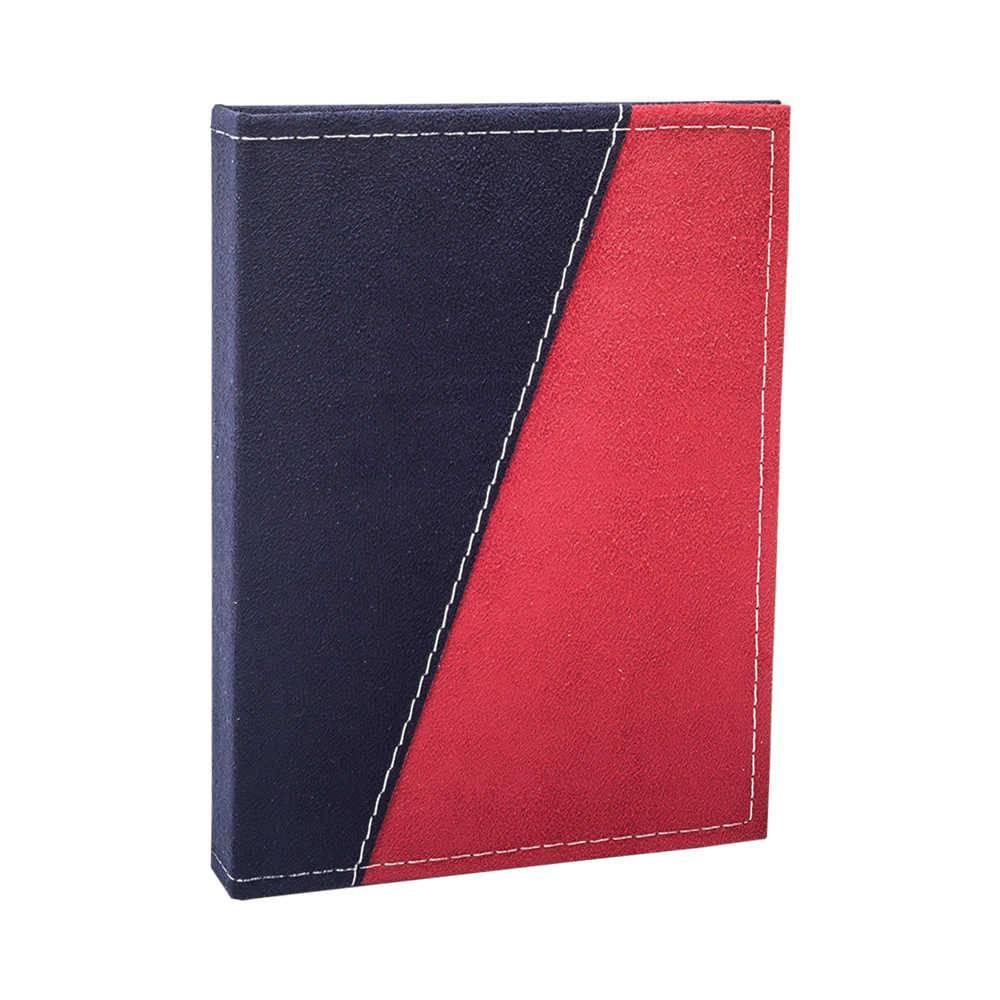 Álbum de Fotos Color Block Azul Marinho e Vermelho - 240 Fotos 10x15 cm - Capa em Camurça - 24,2x18 cm