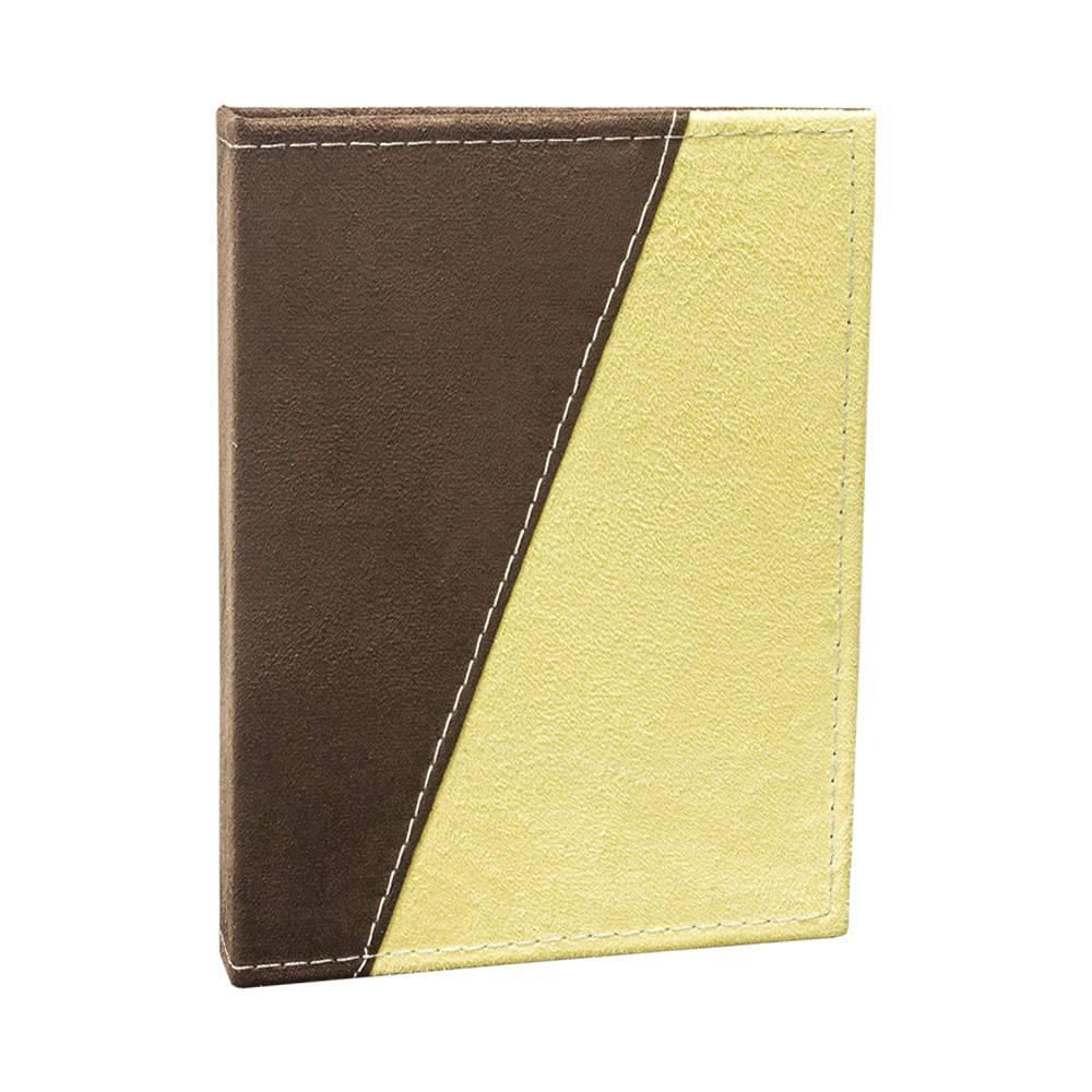 Álbum de Fotos Color Block Marrom e Amarelo - 240 Fotos 10x15 cm - Capa em Camurça - 24,2x18 cm