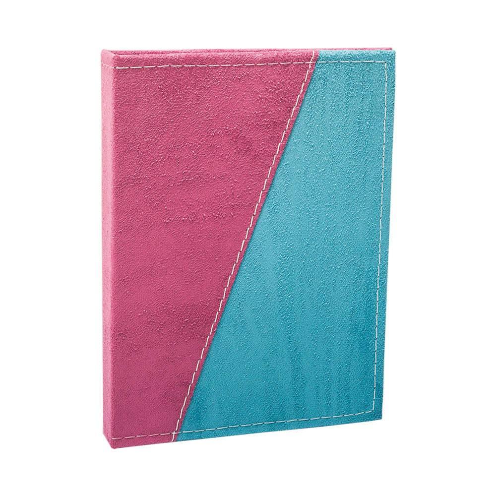 Álbum de Fotos Color Block Rosa e Azul - 240 Fotos 10x15 cm - Capa em Camurça - 24,2x18 cm