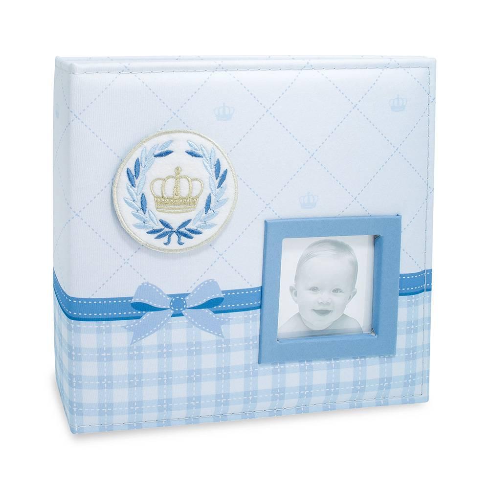 Álbum de Fotos do Bebê Coroa - Azul - 100 Fotos 15x21 cm com Caixa - 26,5x25 cm