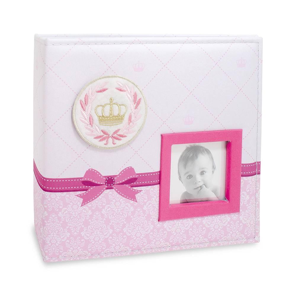 Álbum de Fotos do Bebê Coroa - Rosa - 100 Fotos 15x21 cm com Caixa - 26,5x25 cm