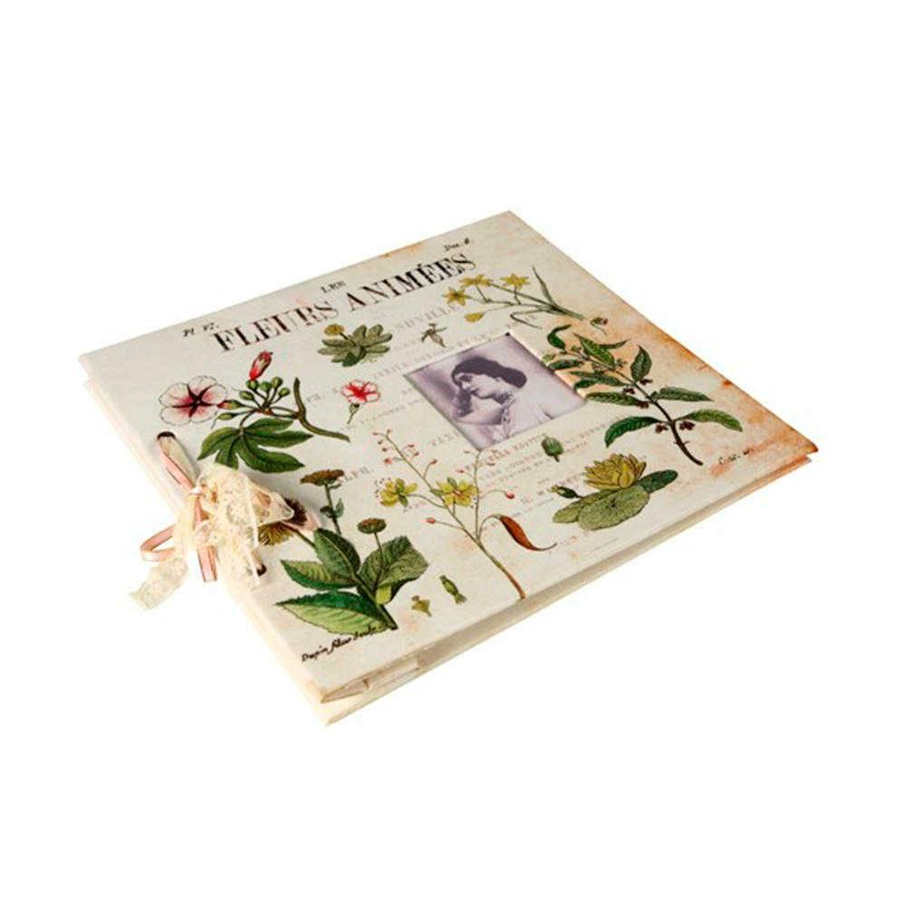 Álbum de Fotos Fleurs Animées Branco Envelhecido Revestido em Tecido - 34x32 cm