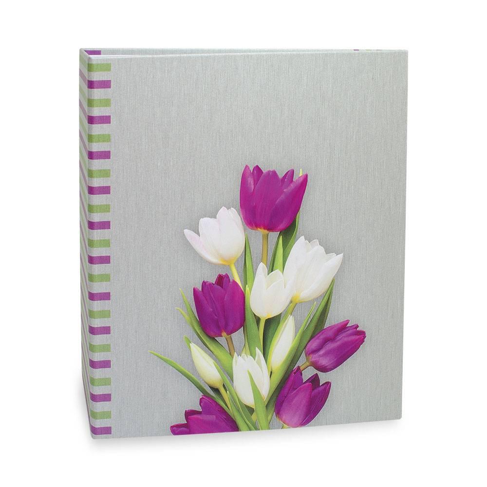 Álbum de Fotos Floral - 200 Fotos 10x15 cm - Tulipas - 24,8x21,6cm