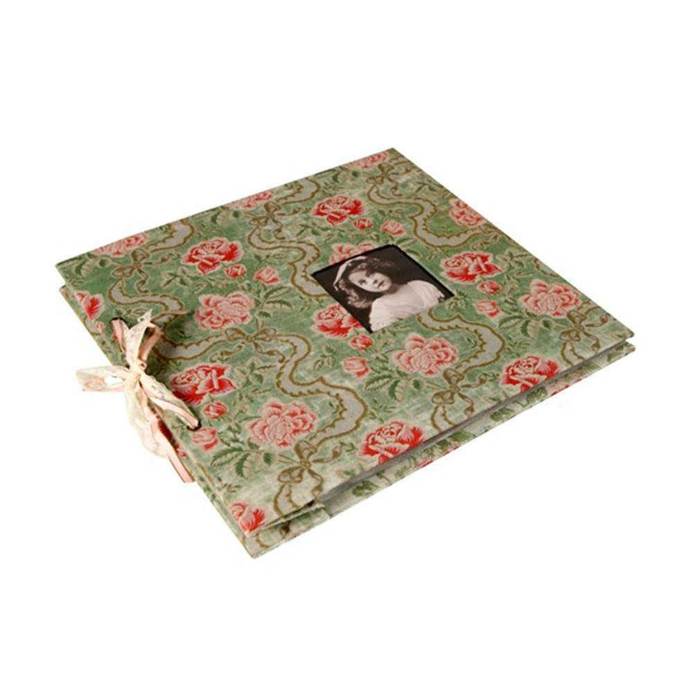 Álbum de Fotos Floral com Fundo Verde Revestido em Tecido - 34x32 cm