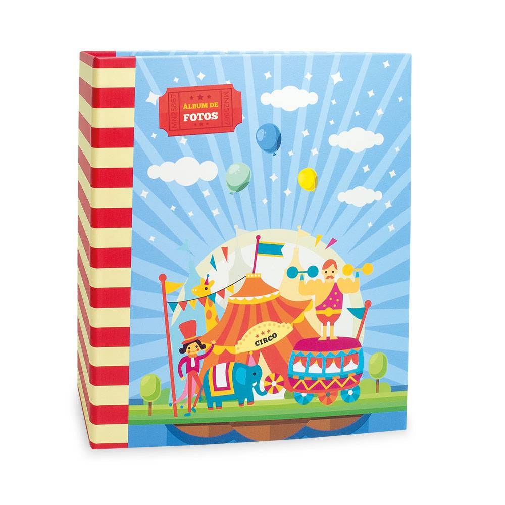 Álbum de Fotos Infantil Circo - 100 Fotos 15x21 cm - com Ferragem - 23,3X22 cm
