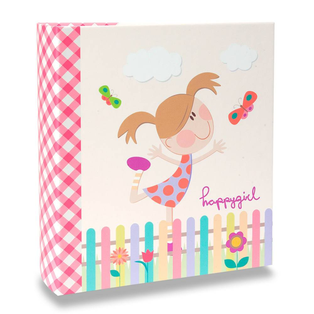 Álbum de Fotos Infantil Happy Girl - 200 Fotos 13x18 cm - com Ferragem - 31x25 cm