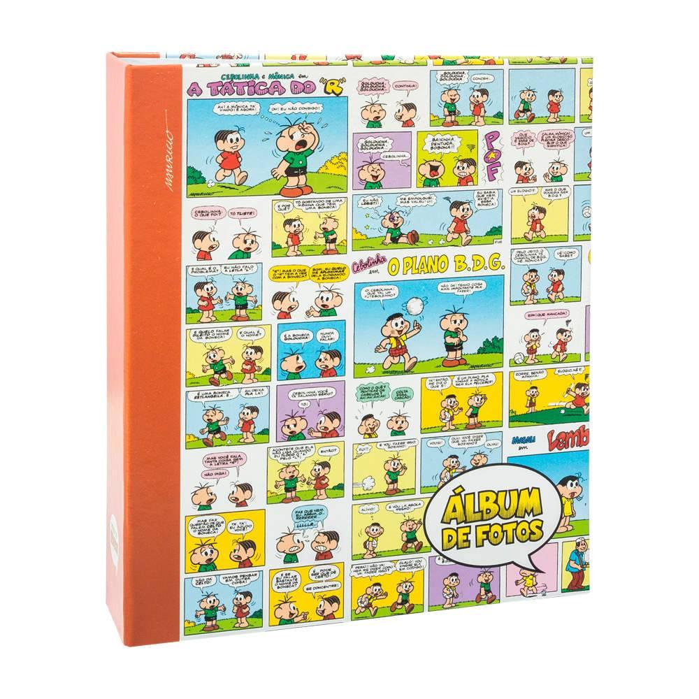 Álbum de Fotos Infantil Turma da Mônica Quadrinhos Coloridos - 300 Fotos 10x15 cm - com Ferragem - 24,8x22,6 cm
