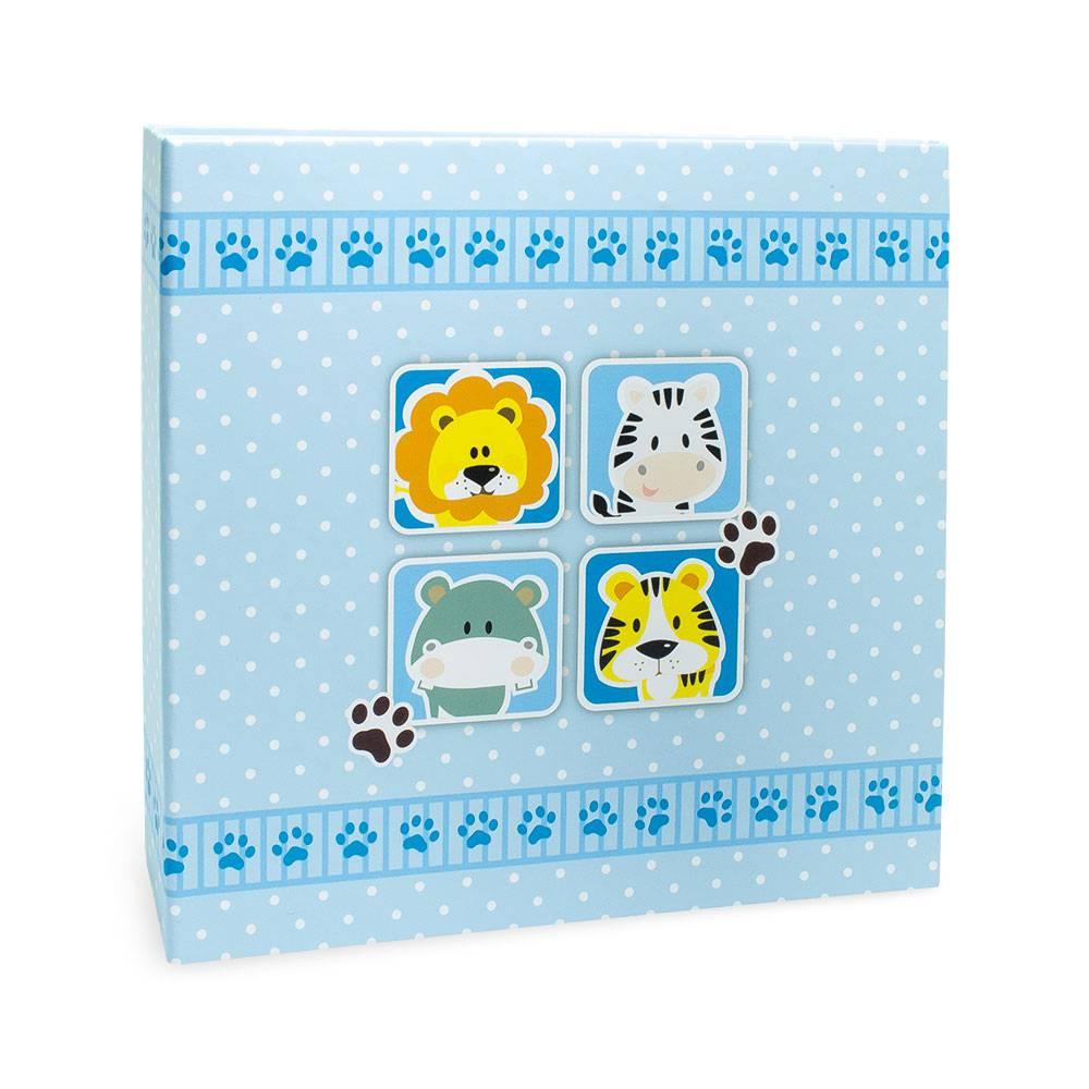 Álbum de Fotos Kids Animais - Azul - 100 Fotos 15x21 cm - 25,6x24,1 cm