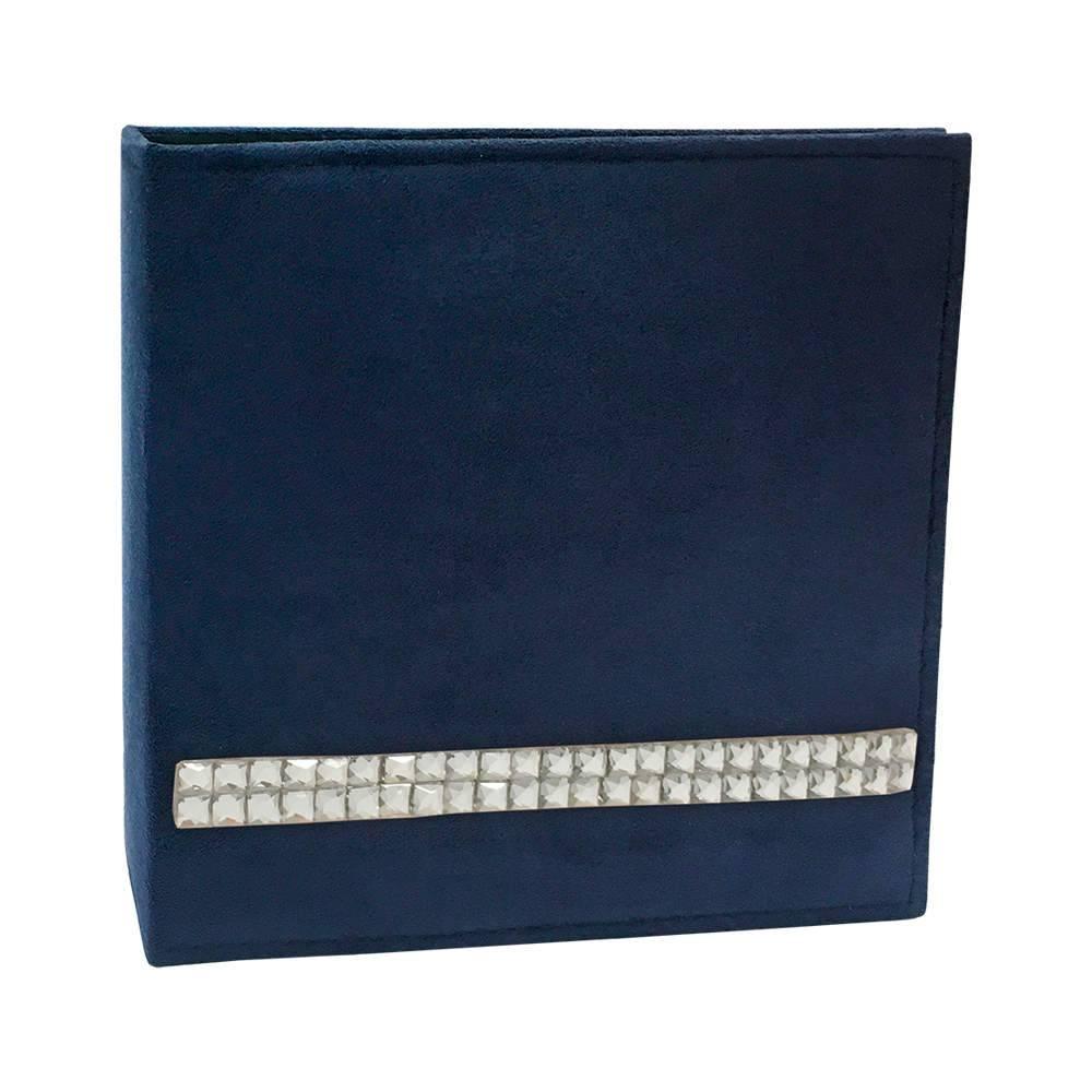 Álbum de Fotos Luxo Azul Marinho com Strass - 100 Fotos 15x21 cm - Capa em Camurça - 25,5x24 cm
