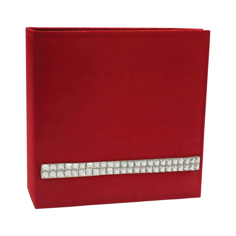 Álbum de Fotos Luxo Vermelho com Strass - 150 Fotos - Capa em Camurça - 25,5x24 cm