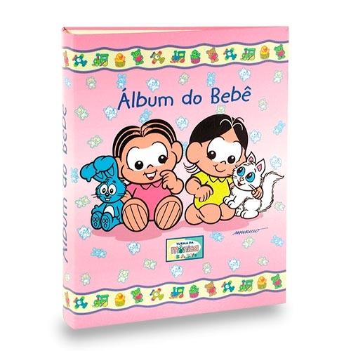 Álbum do Bebê Magali e Mônica Rosa - 40 Fotos 13x18 cm - 25x20,5 cm