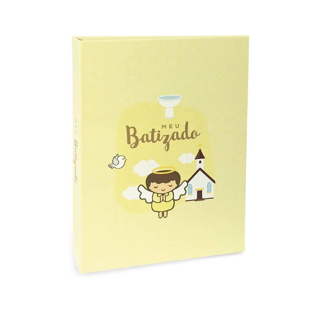 Álbum de Fotos Meu Batizado - 40 Fotos 15x21 cm - Amarelo - 22.6x17.2 cm