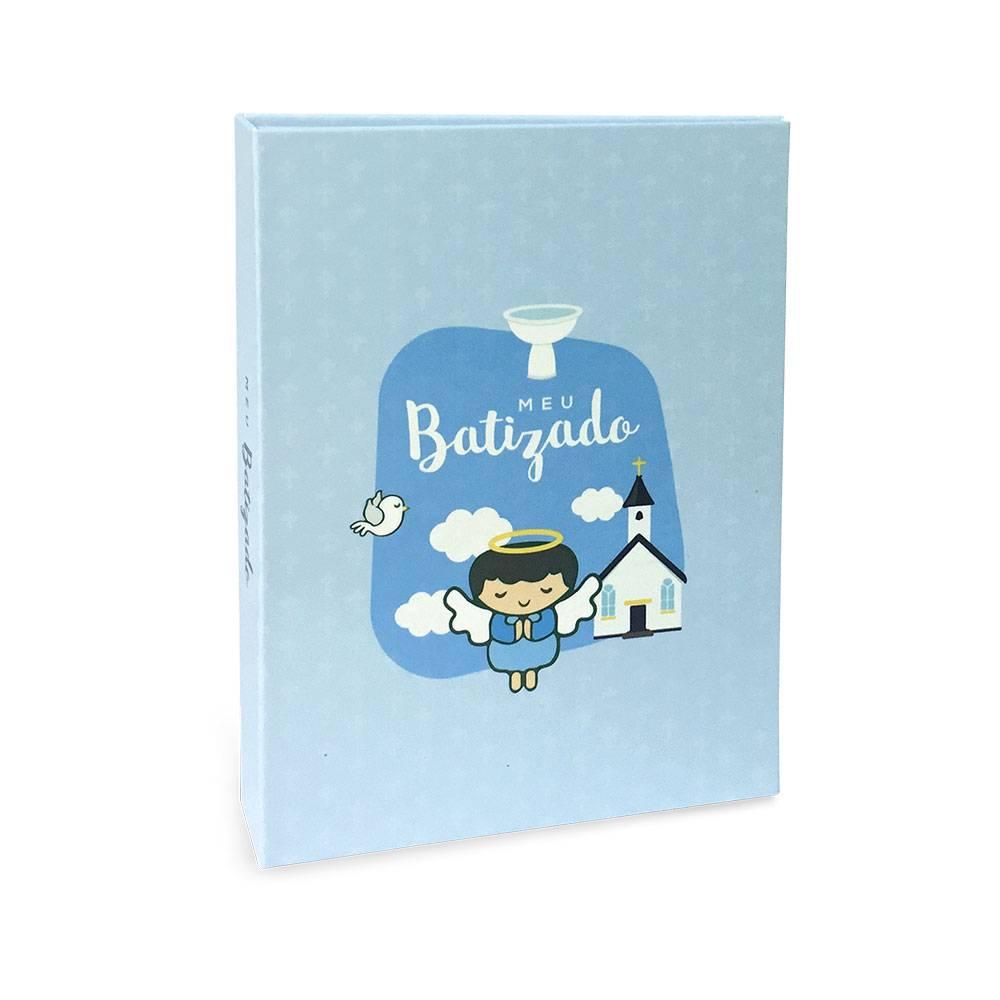 Álbum de Fotos Meu Batizado - 40 Fotos 15x21 cm - Azul - 22.6x17.2 cm