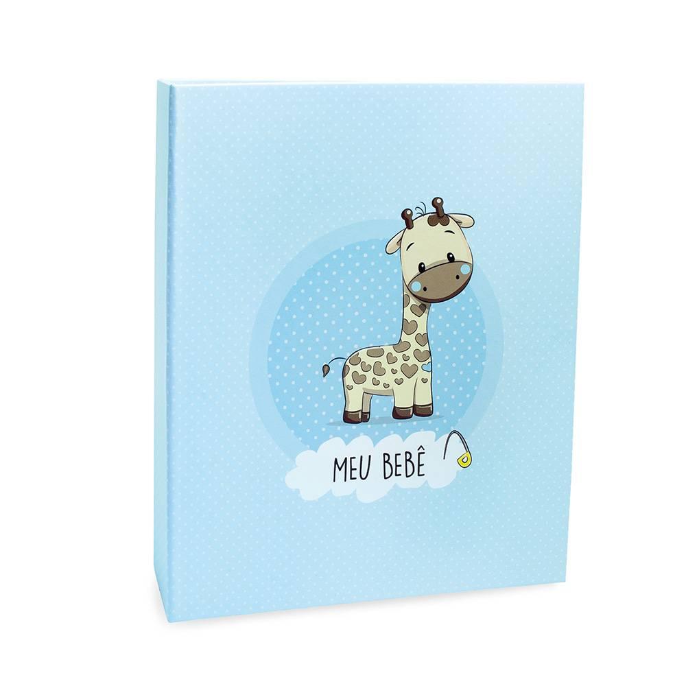 Álbum de Fotos Meu Bebê Azul Com Luva - Girafa - 120 Fotos 10x15 - 25,5x20 cm