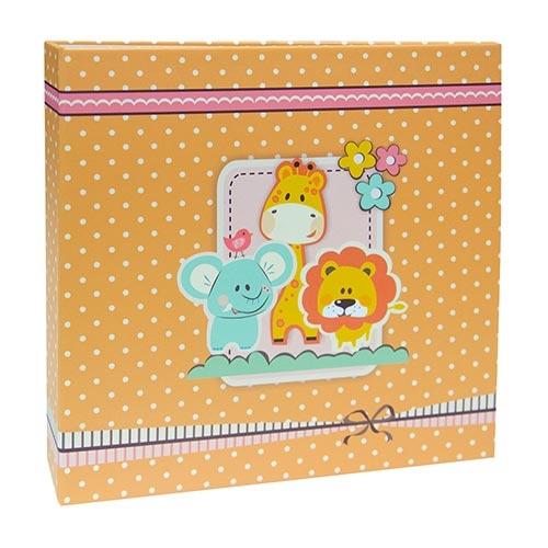 Álbum de Fotos Orange Animals - 200 Fotos 10x15 cm - Linha Kids - 25,6x24 cm