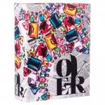 Álbum de Fotos Over Jornal - Colorido em Eucatex - 18x13 cm