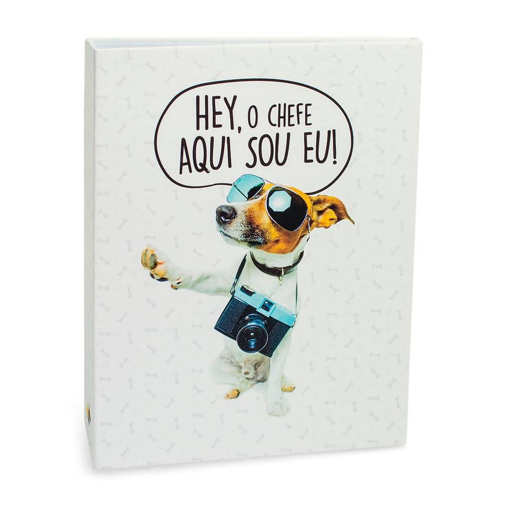 Álbum de Fotos Pet Lovers Cachorro Chefe - 80 Fotos 15x21 cm - Branco - 23.2x18.4 cm