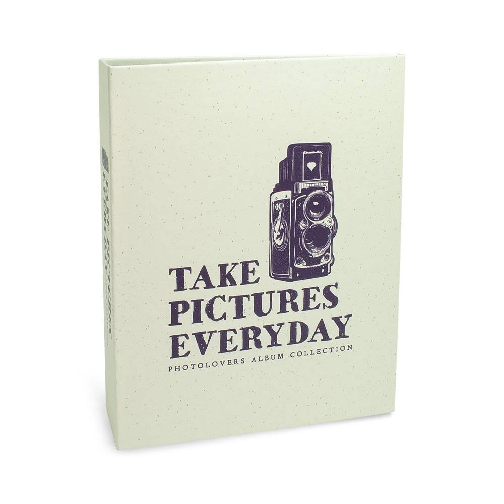 Álbum de Fotos Photo Lovers Take Picyures Everyday - 80 Fotos 15x21 cm - Branco - 23.2x18.4 cm