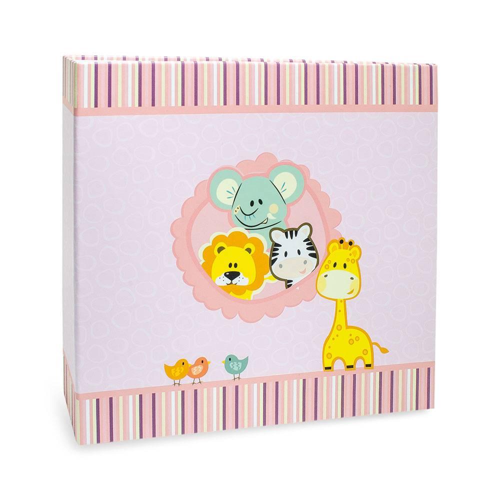 Álbum de Fotos Pink Animals - 150 Fotos - Linha Kids - 25,6x24,1 cm