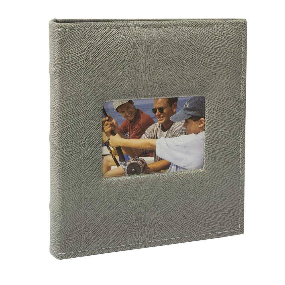 Álbum de Fotos Prestige Cinza com Janela - 200 Fotos 10x15 cm - Capa em Tecido - 23,3x22,2 cm