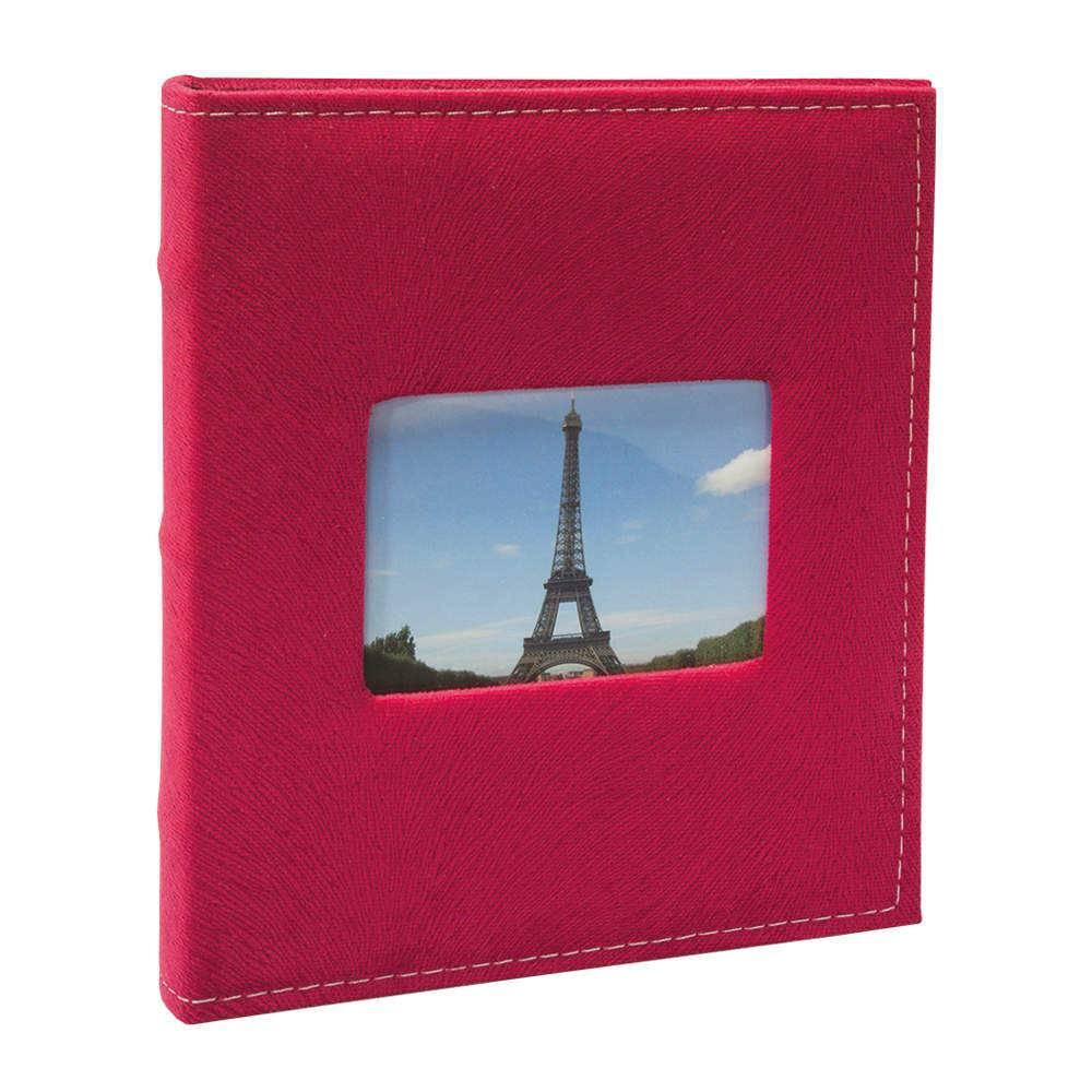Álbum de Fotos Prestige Vermelho com Janela - 200 Fotos 10x15 cm - Capa em Tecido - 23,3x22,2 cm