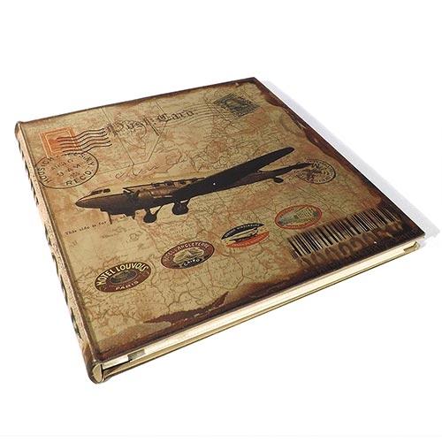 Álbum de Fotos Autocolante Selos Airplane Oldway - 30 Páginas - com Capa em Seda - 34x34 cm