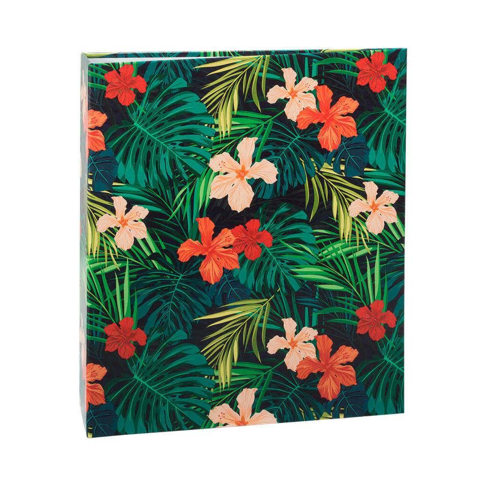 Álbum de Fotos Tropical Hibiscos - 300 Fotos 10x15 cm - com Ferragem - 24,8x22,6 cm