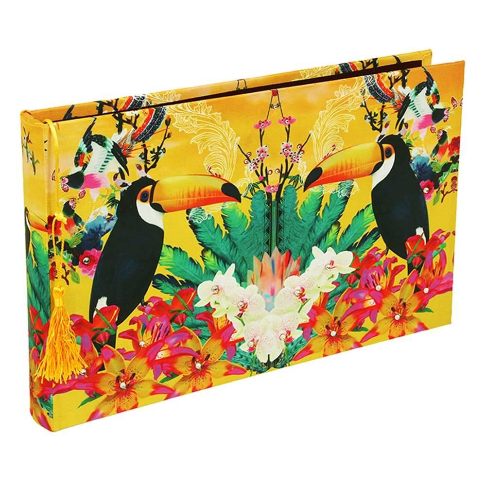 Álbum de Fotos Tropical Tucano em Tecido - 35x24 cm