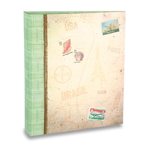 Álbum de Fotos Viagem - 100 Fotos 15x21 cm - Selos - 23,3x22 cm