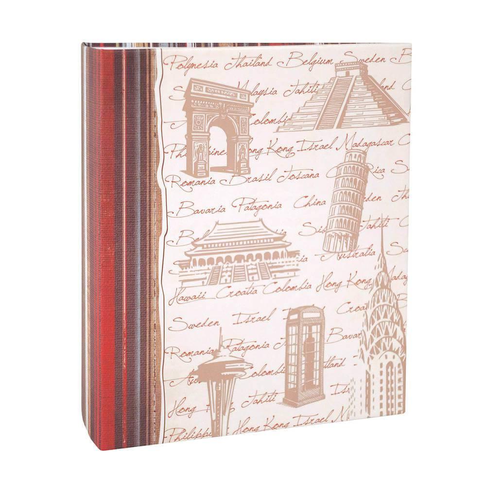 Álbum de Fotos Viagem Países e Monumentos - 200 Fotos 13x18 cm - Bege - 31x25 cm