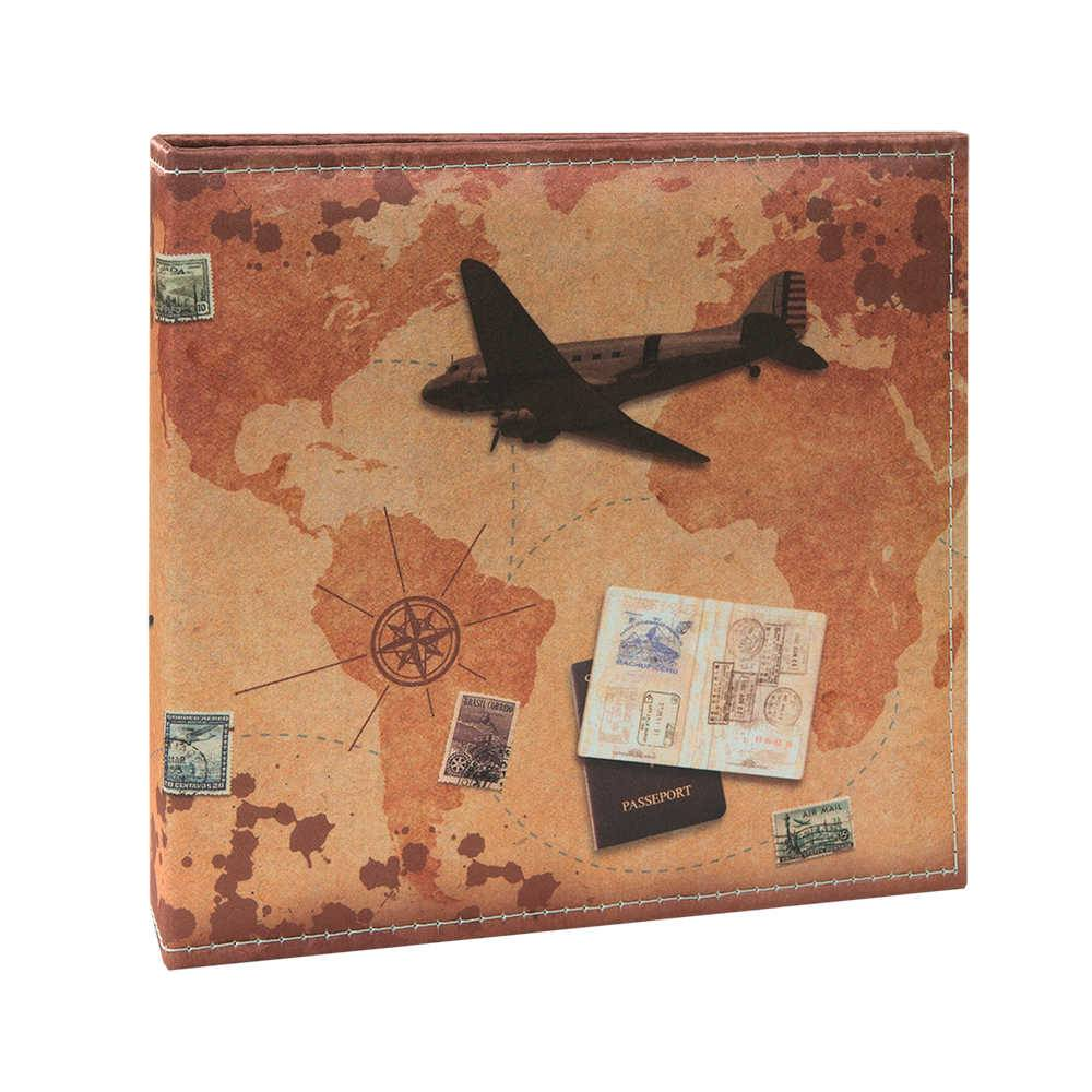 Álbum de Fotos Viagem Passeport - 200 Fotos 13x18 cm - Marrom - 31x25 cm