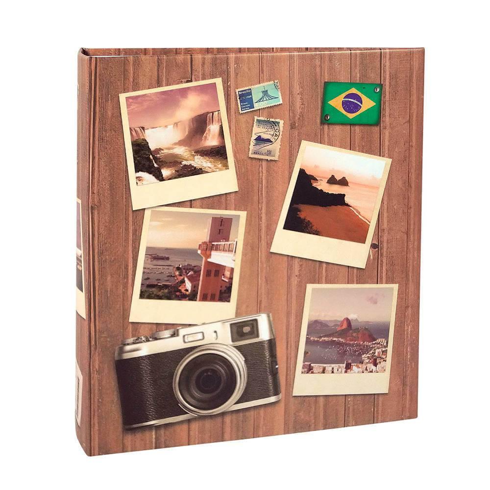 Álbum de Fotos Viagem Pictures - 200 Fotos 13x18 cm - Marrom - 31x25 cm