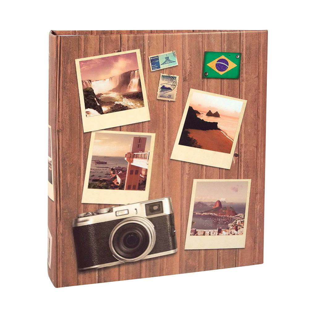 Álbum de Fotos Viagem Pictures - 300 Fotos 13x18 cm - Marrom - 31x26 cm