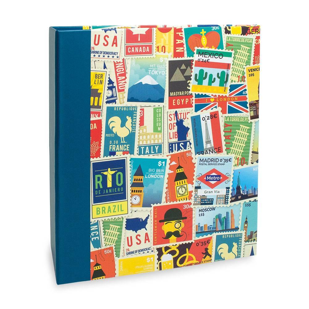 Álbum de Fotos Viagem Selos - 400 Fotos 10x15 cm - 24,8x24,7 cm