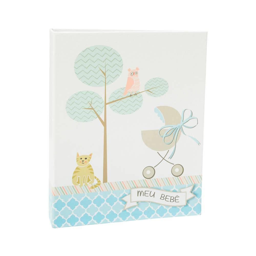 Álbum Meu Bebê Azul com Caixa - 60 Fotos 15x21 cm - Capa em Tecido - 25,5x20 cm