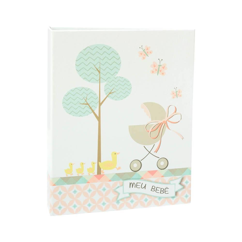 Álbum Meu Bebê Rosa com Caixa - 120 Fotos 10x15 cm - Capa em Tecido - 25,5x20 cm
