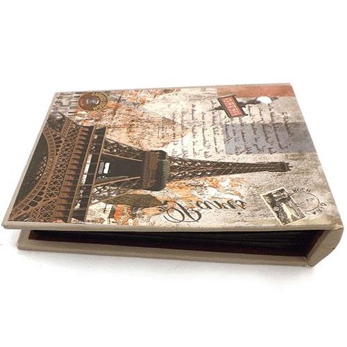 Álbum de Fotos Paris Torre Eiffel Oldway Bege - 80 Fotos 10x15 cm - com Capa em Tecido - 19x12 cm