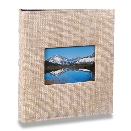 Álbum Prestige com Janela - 100 Fotos 15x21 cm - Bege - 23,3x22,2 cm