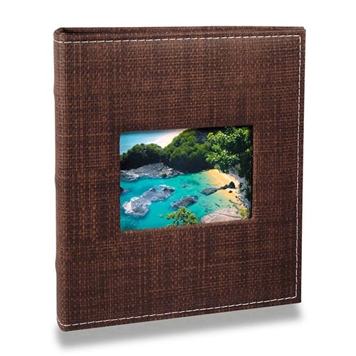 Álbum Prestige com Janela - 100 Fotos 15x21 cm - Marrom - 23,3x22,2 cm