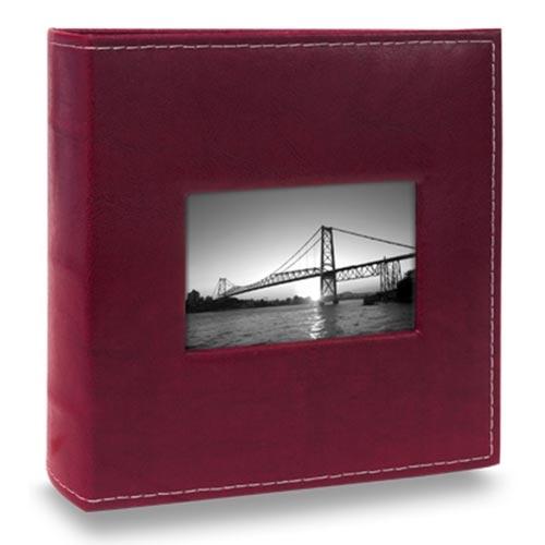 Álbum Prestige com Janela - 400 Fotos 10x15 cm - Bordô - 25,2x24,8 cm