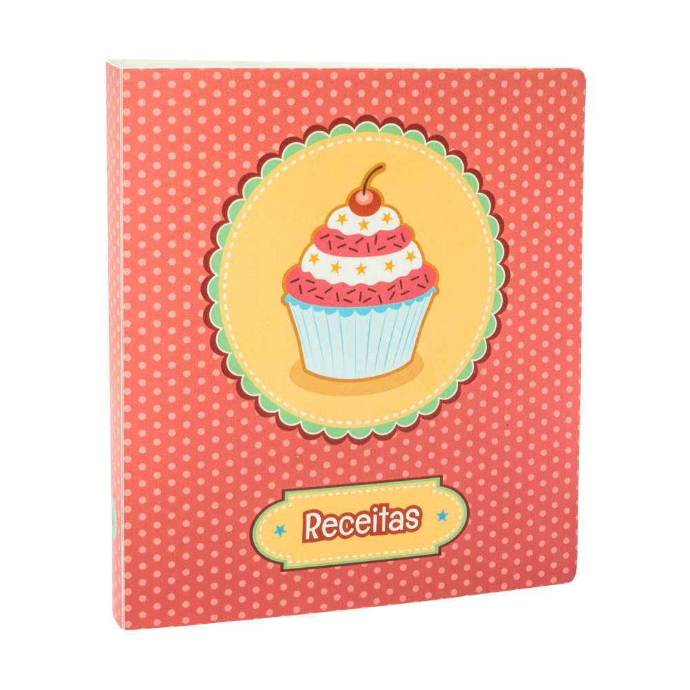 Álbum de Receitas Cupcake Poá Encadernado com Ferragem - 23,4x10 cm