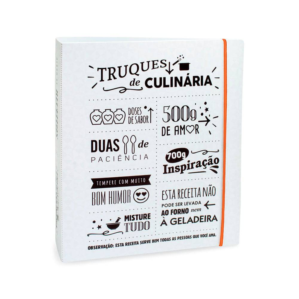 Álbum de Receitas Truques de Culinária - 50 Folhas - Branco - 23.4x21 cm