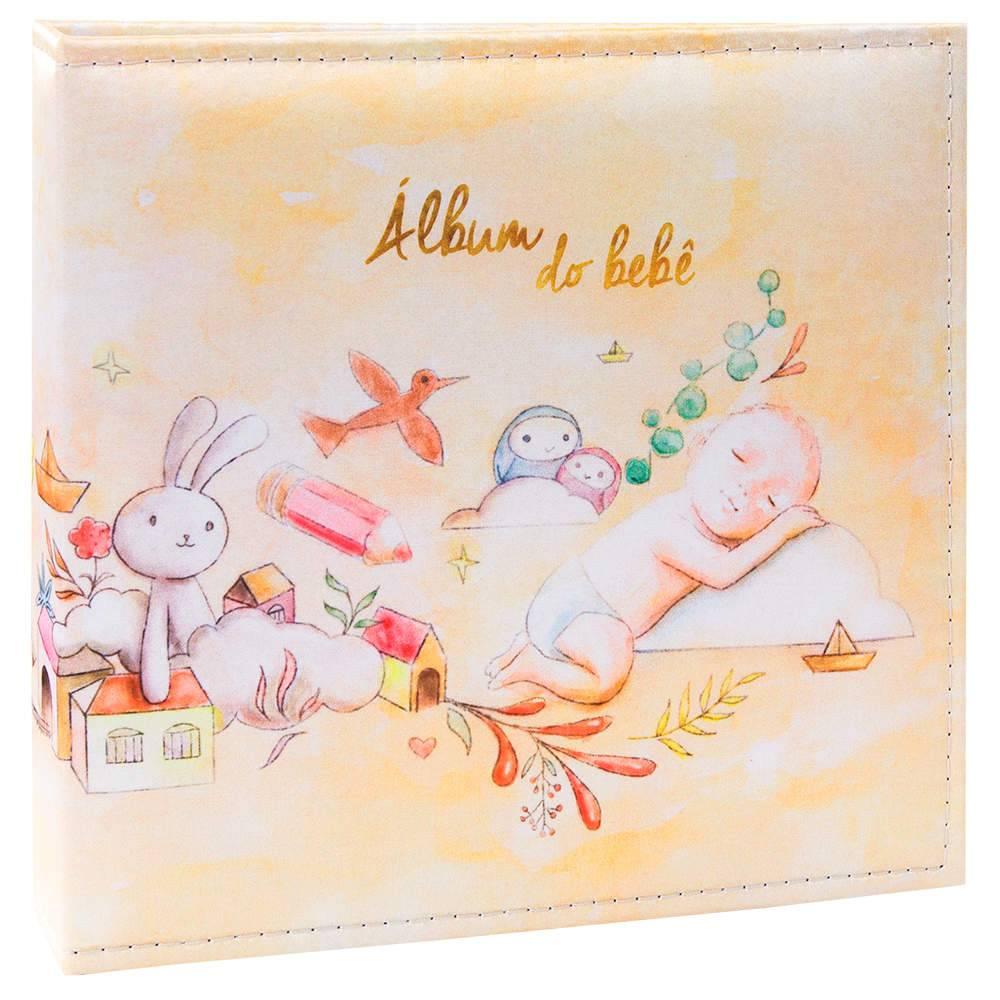 Álbum Tríade Bebê Amarelo com Caixa - 100 Fotos 15x21 cm - Capa em Cetim - 26x25 cm