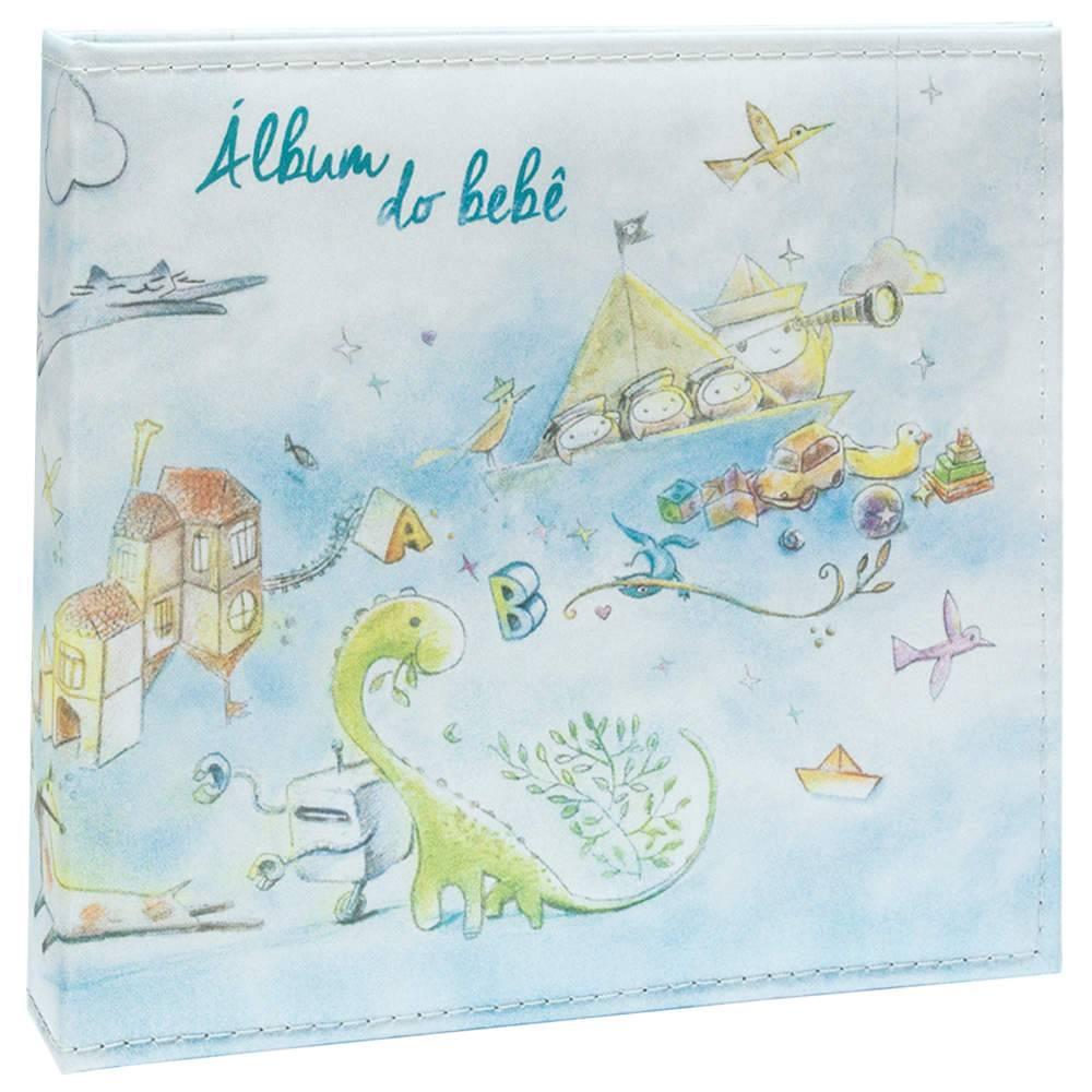 Álbum Tríade Bebê Azul com Caixa - 100 Fotos 15x21 cm - Capa em Cetim - 26x25 cm