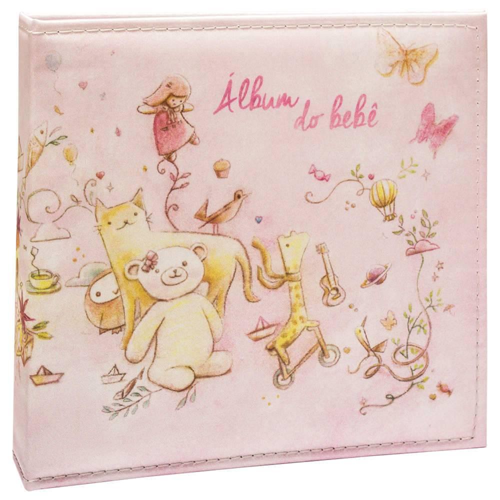 Álbum Tríade Bebê Rosa com Caixa - 100 Fotos 15x21 cm - Capa em Cetim - 26x25 cm