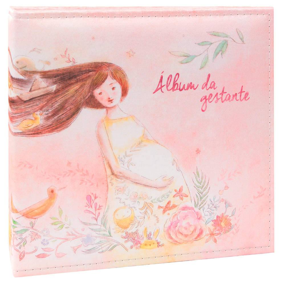 Álbum Tríade Gestante Rosa com Caixa - 100 Fotos 15x21 cm - Capa em Cetim - 26x25 cm