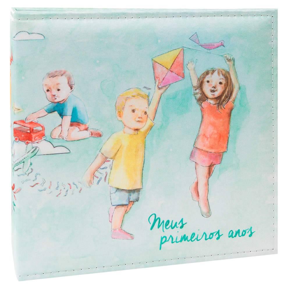 Álbum Tríade Primeiros Anos Azul com Caixa - 200 Fotos 10x15 cm - Capa em Cetim - 26x25 cm