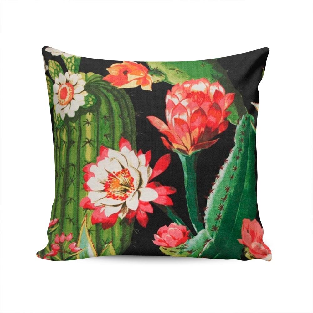Almofada Acquablock Cactos e Flores - Preta - Capa em Algodão - 45x45 cm