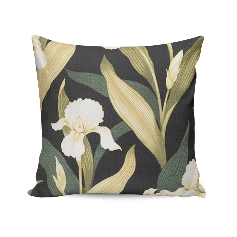 Almofada Acquablock Flor de Palma - Preta/Verde - Capa em Algodão - 45x45 cm